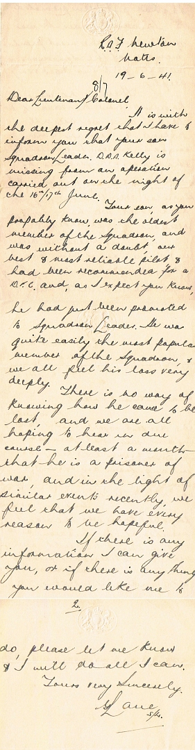 GeertKelly 1st letter to parents MIA 19 juni 1941