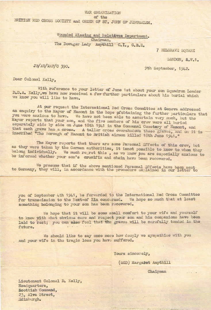 GeertLetter from Red Cross to Sq Ldr DDA Kellys father 9th September 1941