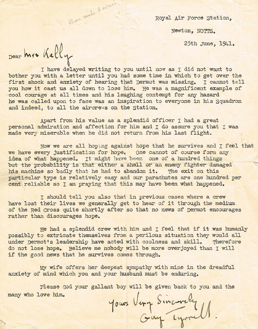 GeertLetter to Sq Ldr DDA Kellys mother from RAF Newton Station Commander Guy Tyrrell 25 June 1941